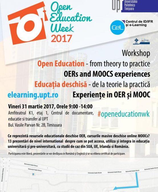Workshop Educația deschisă – de la teorie la practică: experiențe în OER și MOOC