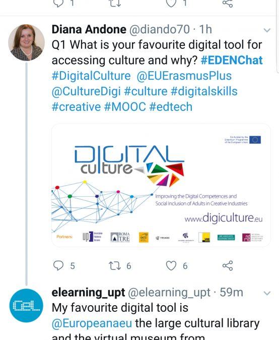 #EDENChat pe Twitter: Aplicații digitale pentru cultură și industriile creative în timpul pandemiei