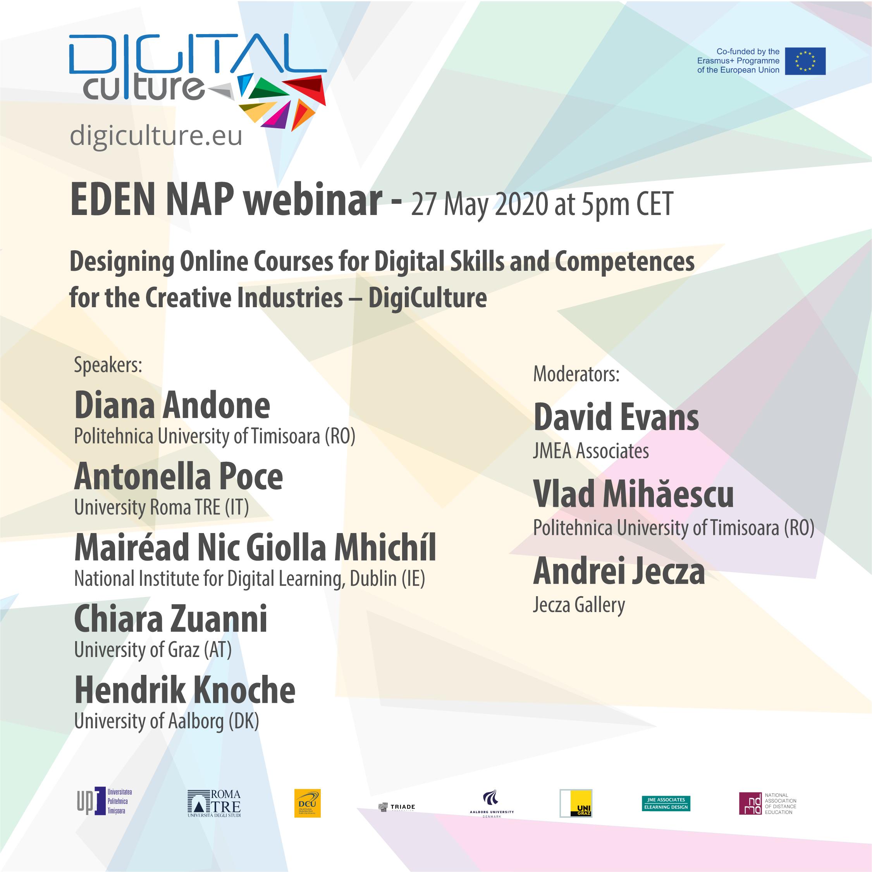 Webinar EDEN NAP: Proiectarea cursurilor online pentru competențe digitale și competențe pentru industriile creative – DigiCulture
