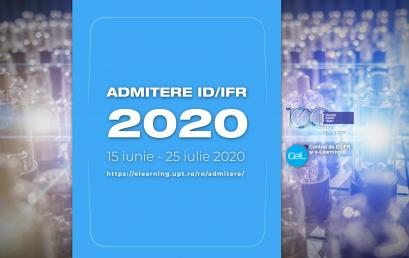 ADMITERE 2020 – ID/IFR – Calendar – Înscriere online – Specializări – Taxe