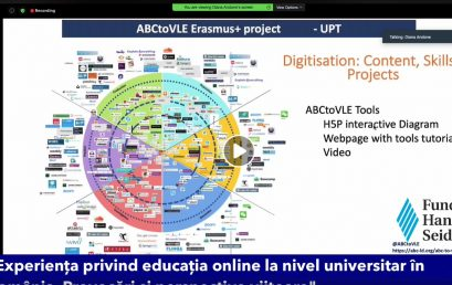 Presenting about the ABC to VLE project during workshop The Online Education Experience at academic level in Romania. Challenges and future perspectives