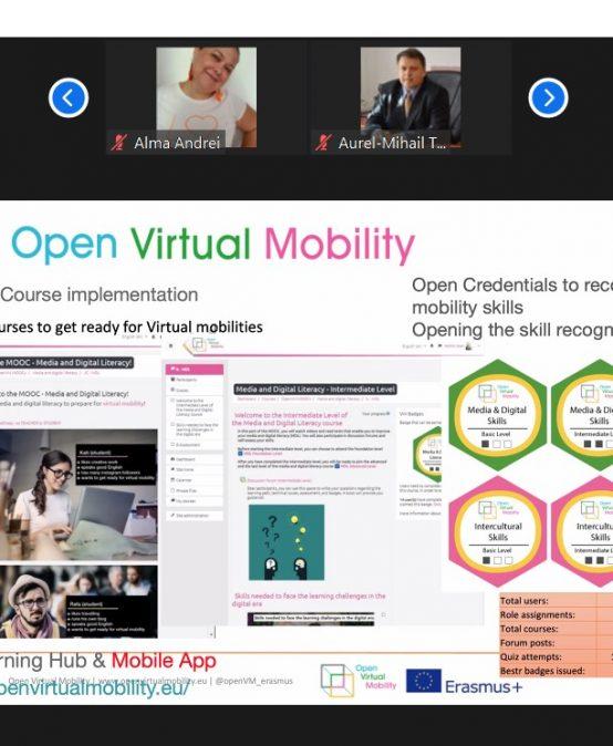 Prezentarea despre proiectul Open Virtual Mobility în cadrul workshop-ului: Experiența privind educația online la nivel universitar în România. Provocări și perspective viitoare