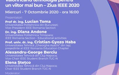 Webinar #impreunaonline: Valorificând tehnologia pentru un viitor mai bun – Ziua IEEE 2020