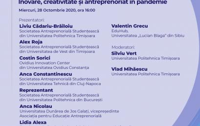 Webinar #impreunaonline: Inovare, creativitate și antreprenoriat în pandemie