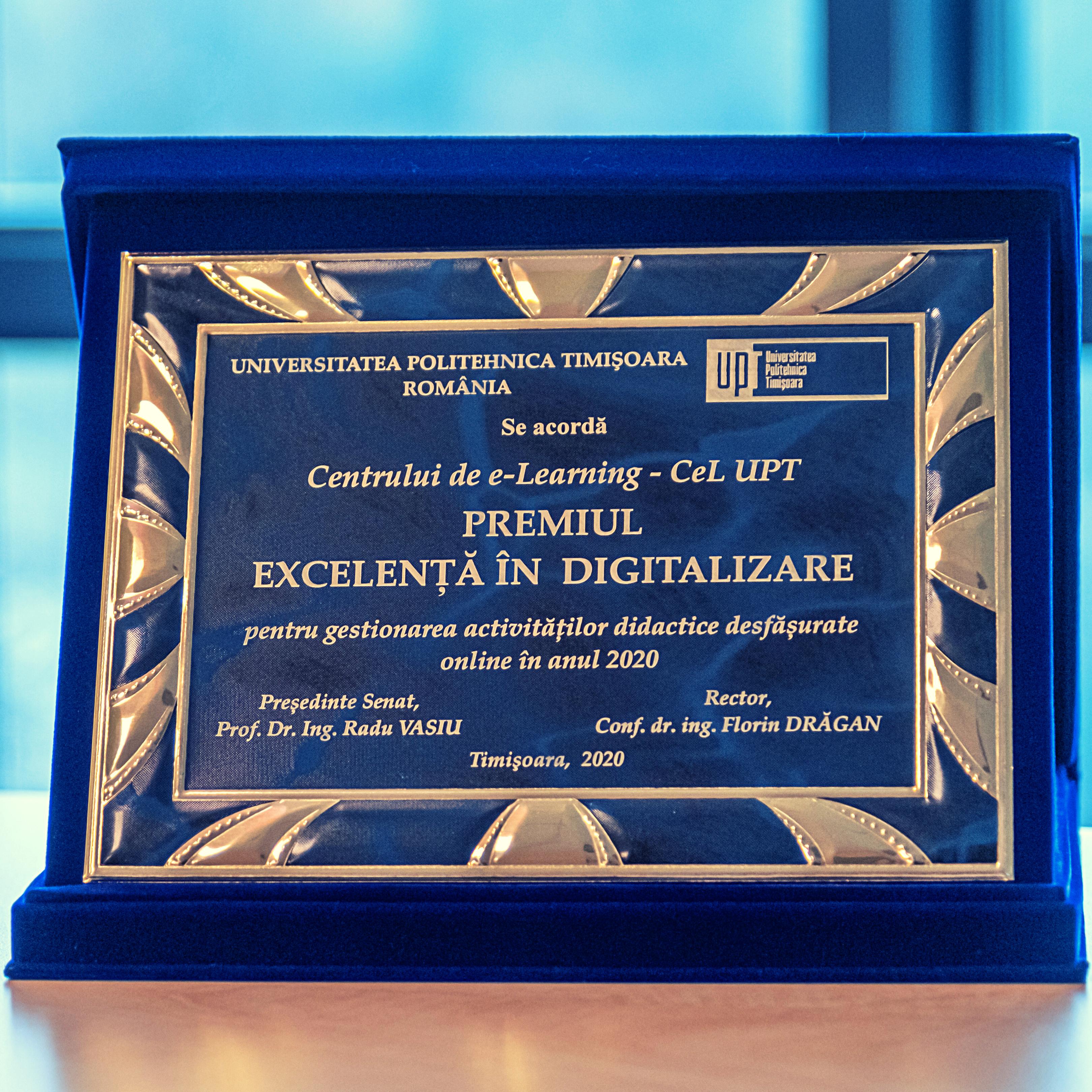 Premiul pentru excelență în digitalizare, decernat Centrului de e-Learning UPT
