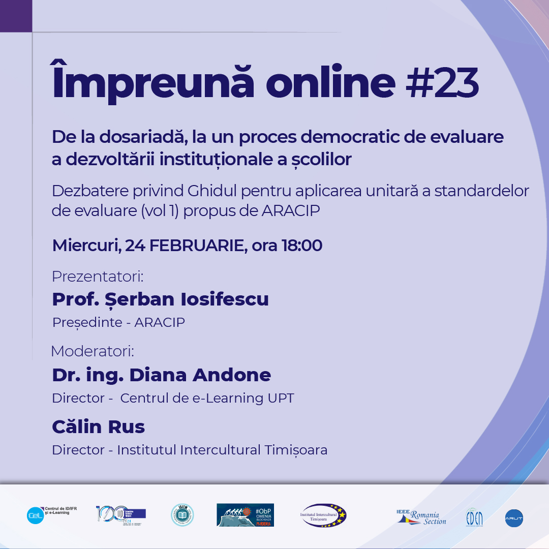 #impreunaonline webinar: From the dossier to a democratic process of evaluating the institutional development of schools