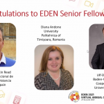 Dr. Diana Andone, directorul CeL a primit distincția EDEN Senior Fellow Award